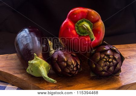 Vegetable Group Over Wooden Chopping Board