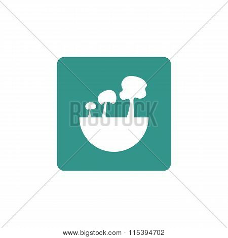 Green City Tree Icon On Coloured Round Background
