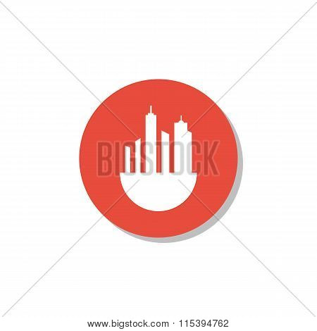 Green City Icon On Red Circle Background