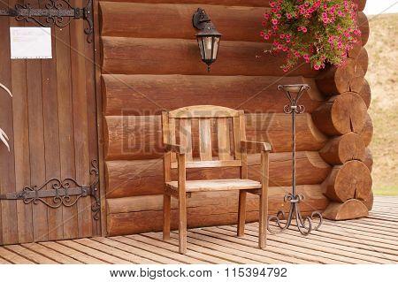 Wood chair wood house flowers