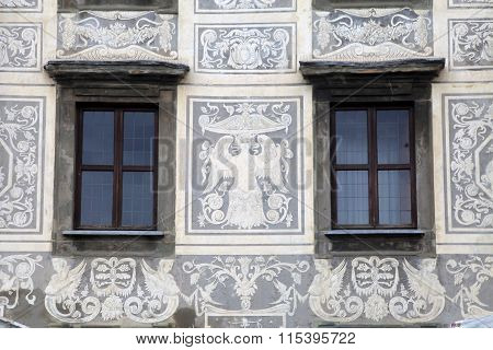 Beautiful Fresco On Medieval Building In Pisa, Italy