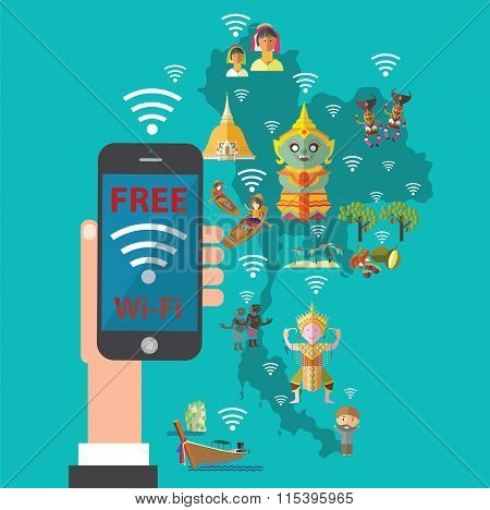 free wifi with Thailand map