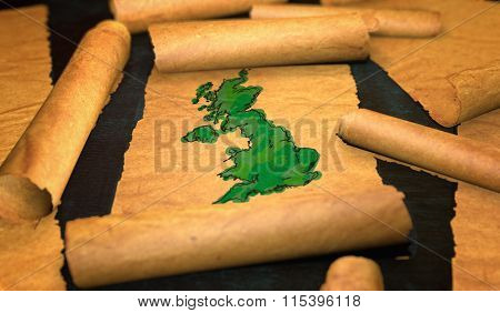 Britain Uk Map Painting Unfolding Old Paper Scroll 3D