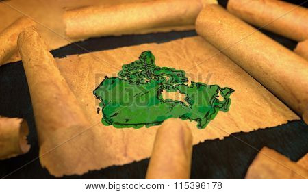 Canada Map Painting Unfolding Old Paper Scroll 3D