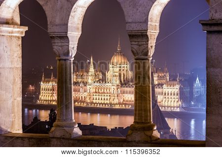 Night view of the Hungarian Parliament Building