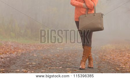 Handbag In Woman Hands. Fall Autumn Fashion.