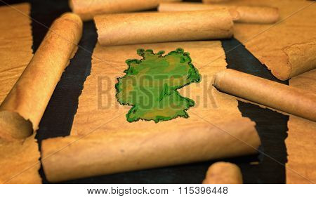 Germany Map Painting Unfolding Old Paper Scroll 3D