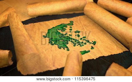 Greece Map Painting Unfolding Old Paper Scroll 3D