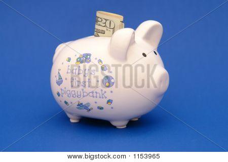 Piggybank For Baby Blue Background