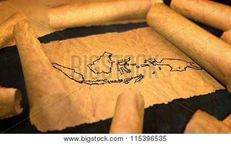 Indonesia Map Drawing Unfolding Old Paper Scroll 3D