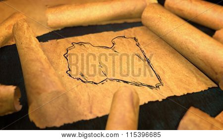Libya Map Drawing Unfolding Old Paper Scroll 3D
