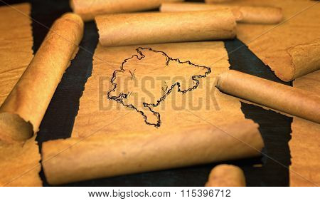 Montenegro Map Drawing Unfolding Old Paper Scroll 3D