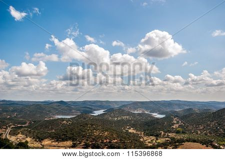 Landscape of mountains with clouds in the sky