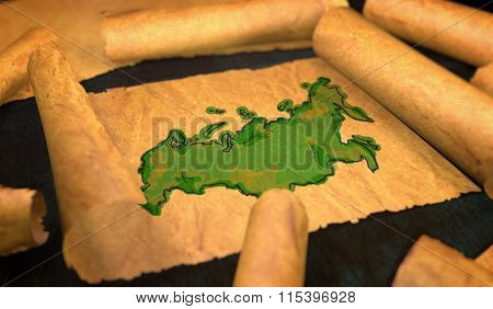Russia Map Painting Unfolding Old Paper Scroll 3D