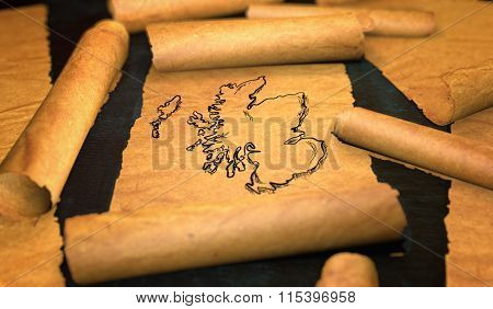 Scotland Map Drawing Unfolding Old Paper Scroll 3D