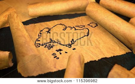Singapore Map Drawing Unfolding Old Paper Scroll 3D