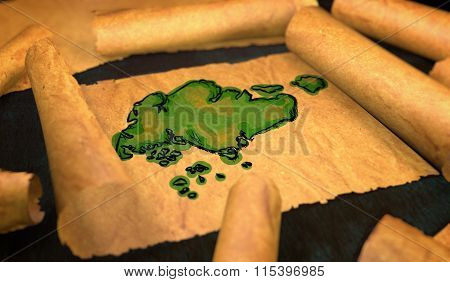 Singapore Map Painting Unfolding Old Paper Scroll 3D