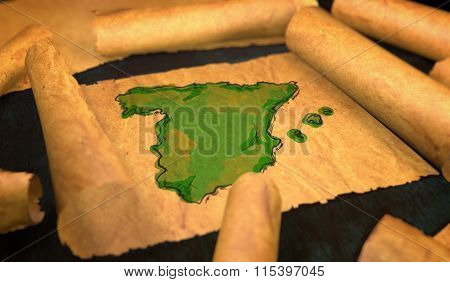Spain Map Painting Unfolding Old Paper Scroll 3D
