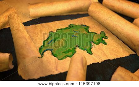 Switzerland Map Painting Unfolding Old Paper Scroll 3D