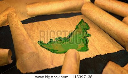 United Arab Emirates Map Painting Unfolding Old Paper Scroll 3D