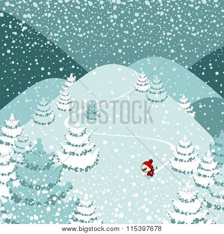 Cute skier in red (raster version)