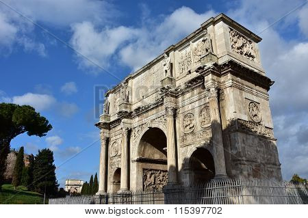 Arch Of Constantine With Beautiful Sky In The Center Of Rome