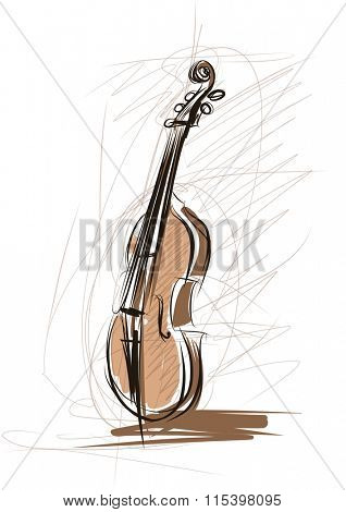 Vector drawing of violin