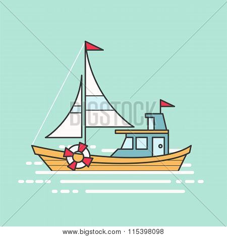 Cool line art flat design boat web icon.