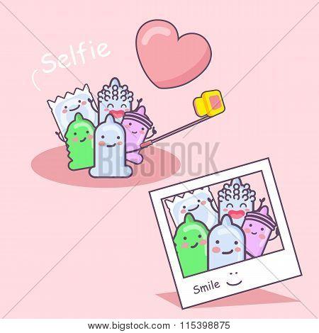 Cartoon Condom Friends Selfie