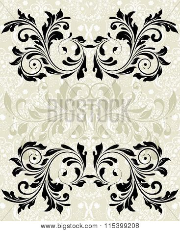 Vintage invitation card with ornate elegant abstract floral design, black on gray. Vector illustration.