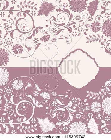 Vintage invitation card with ornate elegant retro abstract floral design, dark pink and white flowers and leaves with plaque text label. Vector illustration.