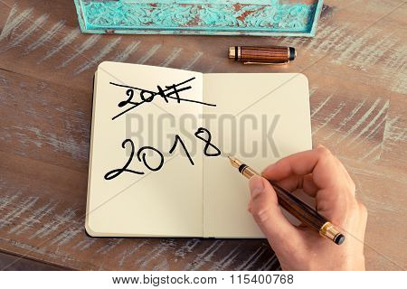 Handwritten Text Happy New Year 2018