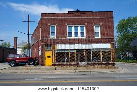 Former Cleaners Shuttered Storefront