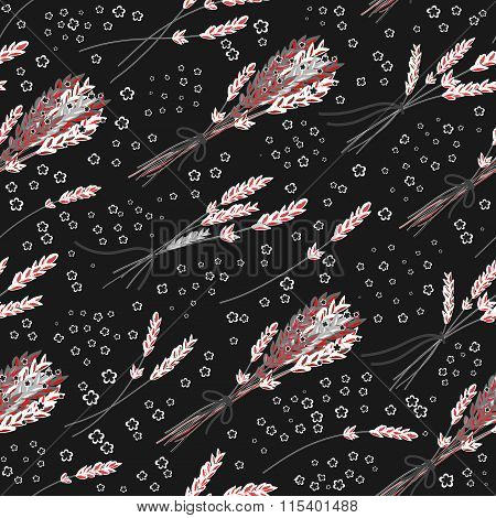 Vector seamless pattern with hand drawn lavender illustration. Vintage gray background with pink lavender flowers sketch. Used for fabric, paper and other printing and web projects