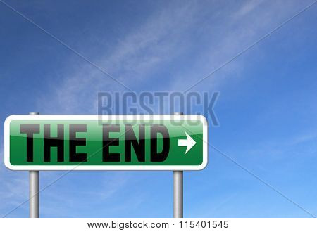 the end road sign to finish point way out