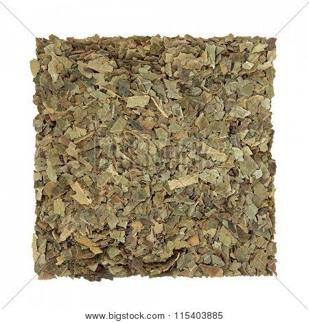 Neem herb used in ayurvedic alternative herbal medicine over white background. Azardirachta.