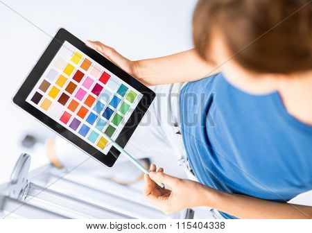 woman working with color samples