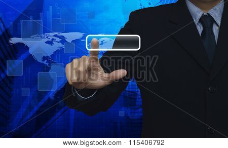 Businessman Pushing Blank Button Touchscreen Over Connection Map And City Tower, Elements Of This Im