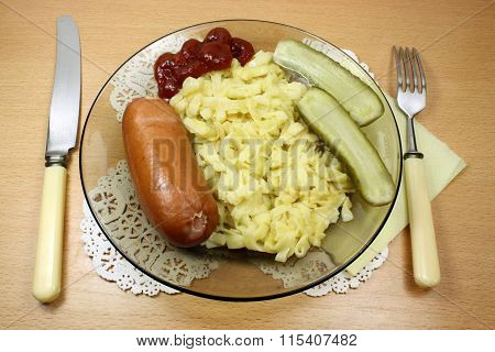 Noodles With Sausage And Pickles