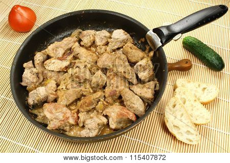 Fried Meat On A Frying Pan