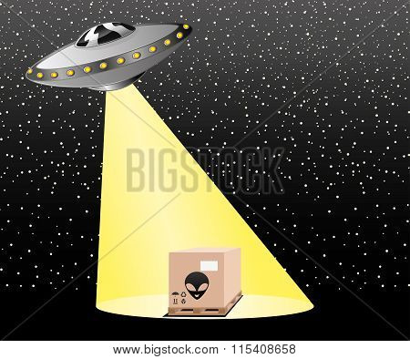 UFO rays illuminate the space