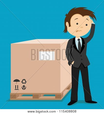 Businessman and box.