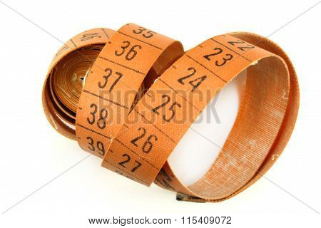 Measuring Tape For Sewing On A White Background