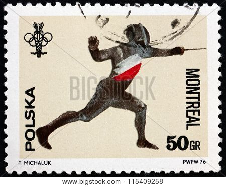 Postage Stamp Poland 1976 Fencing