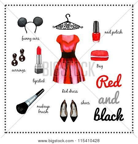 Red Dress Fashion Outfit Watercolor Set Illustration
