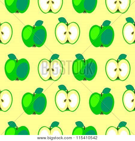 Seamless vector pattern bright fruits symmetrical background with apples whole and half over light y