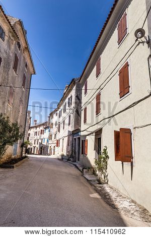 Narrow Old Street Of Village Of Bale - Croatia