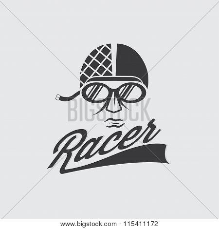 Racer Head Vintage Illustration
