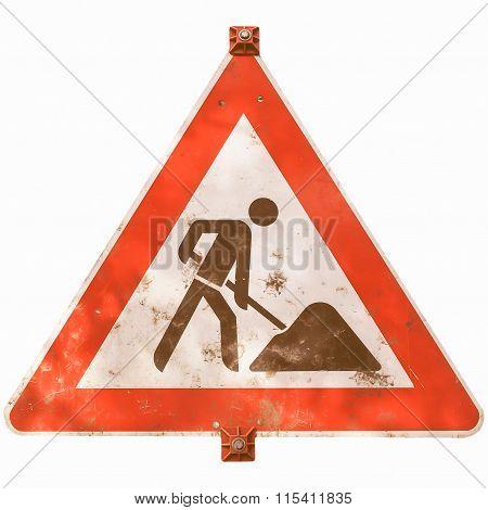 Roadworks Sign Vintage