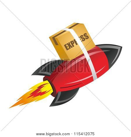 Vector 3D Creative Rocket Express Cargo Delivery Illustration